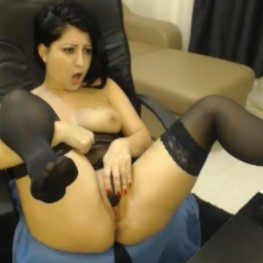 camgirl in sexy black stockings